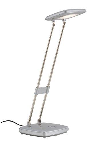 Briloner Leuchten LED Tischleuchte,Tischlampe, Schreibtischleuchte, Schreibtischleuchte, ausziehbar von 220-340 mm, Leuchtenkopf schwenkbar, silber, Metall, 3.6 W, integriert, 10.5 x 10.5 x 34 cm