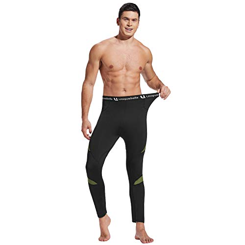 UNIQUEBELLA Men's Thermal Underwear Bottoms Long Johns Fleece Sweat Quick Drying Thermo (Only Pants Black, S)