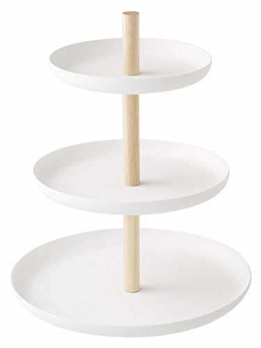 Yamazaki Home 3-Tier Food Serving Stand-Appetizer & Dessert Tray Party Organizer, One Size, White