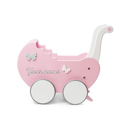 TukuTuk Doll Pram | Wood | Pink-White | Handmade in EU | Toy pram with rubberised wooden wheels | Girls