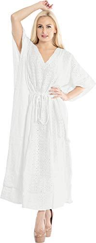 LA LEELA Mujeres caftán Algodón túnica Bordado Kimono Libre tamaño Largo Maxi Vestido de Fiesta para Loungewear Vacaciones Ropa de Dormir Playa Todos los días Cubrir Vestidos Ghosts Blanco_X1025