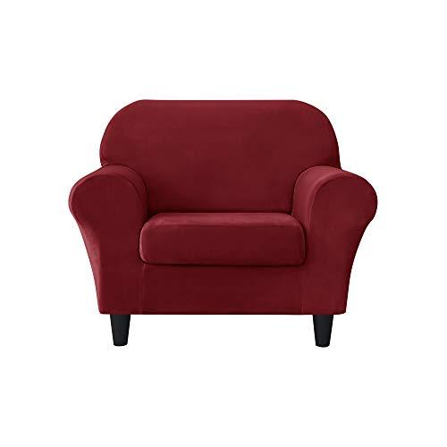 MILARAN Samt-Sofa-Schonbezug, weicher Stretchbezug, 2-teilig, hoher Spandex, Möbelschutz für Wohnzimmer (1-Sitzer, Burgunderrot)