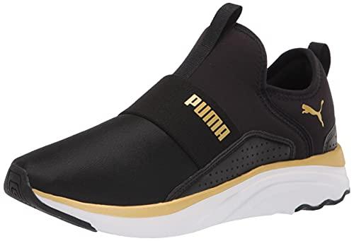 PUMA Women's Softride Sophia Slip On Running Shoe, Black Team Gold, 7.5