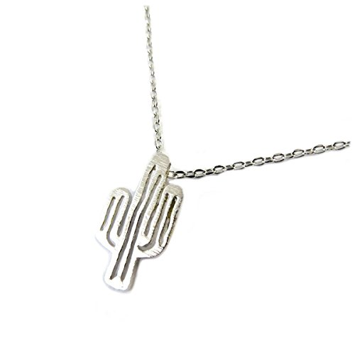 7bis [Q1481 - Necklace handcrafted 'Boho' (cactus) silvery - 15x9 mm (0.59''x0.35'').