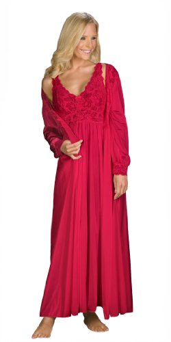 Shadowline Silhouette Gown and Peignoir Set (51737), Red, 3X