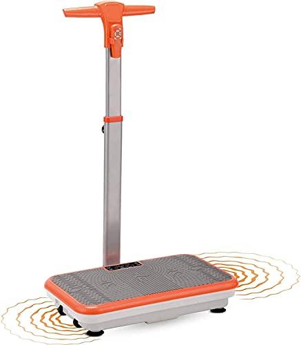 Vibro Shaper – Fitness Vibrationsplatte unterstützt bei Muskelaufbau und Fettverbrennung – Vibrationstrainer für alle Muskelgruppen – inklusive Fitnessbänder – orange mit Griff