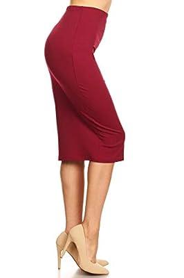 Via Jay Women's Solid Basic High Waisted Pencil Skirt
