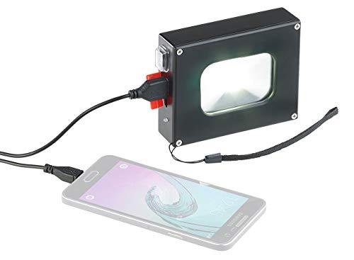 KRYOLiGHTS LED Strahler Akku: Alu-LED-Fluter und 4.000-mAh-Powerbank, 10-Watt-COB-LED, 370 lm, IP44 (Akku LED Fluter)