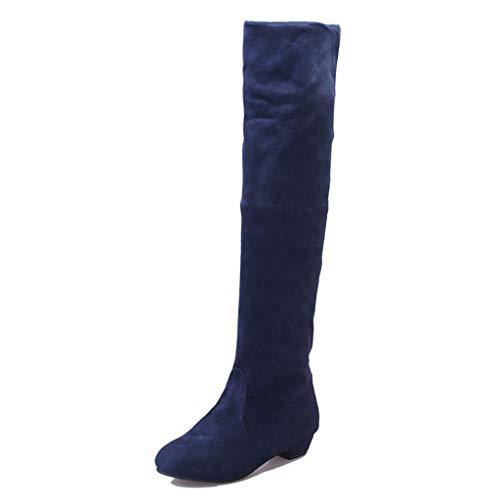 WggWy Botas Altas del Muslo de Las Mujeres, Botines de la Moda de Gamuza de la Rodilla de Las Mujeres Super Mucho Tiempo sobre Las Botas de la Rodilla de la Primavera Plana y el otoño,Azul,37