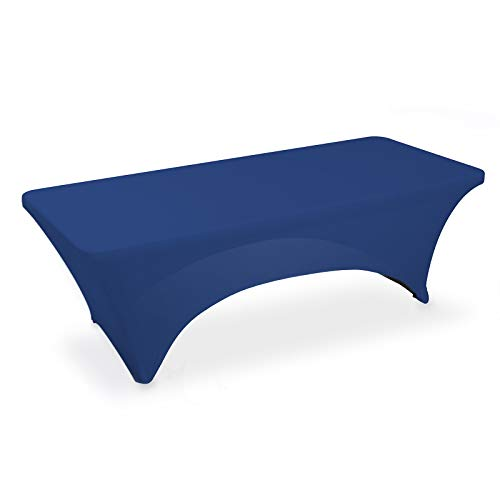 Lann's Linens - 8' Fitted Stretch Tablecloth for 96' x 30' Rectangular Table - Wedding/Banquet/Trade Show - Spandex Cloth Fabric Cover - Royal Blue