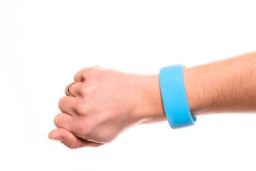 No Excuse Fitness Silikon Schlüssel-Armband Wertsachen Sport Laufen Joggen Schwimmen Running Outdoor Wasserfest Aufbewahrung Schlüssel Geld Münzen (Blau, Größe L)