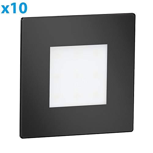 ledscom.de LED Treppen-Licht FEX Stufenbeleuchtung, schwarz, eckig, 8,5x8,5cm, 230V, warmweiß, 10 STK.