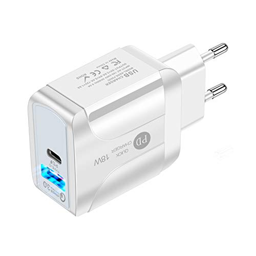 QueenDer Quick Charge 3.0 USB Type C PD 2 Puertos Cargador de Red 18W Cargador Móvil para iPhone Samsung Android Smartphones Tablet y Otros (White)
