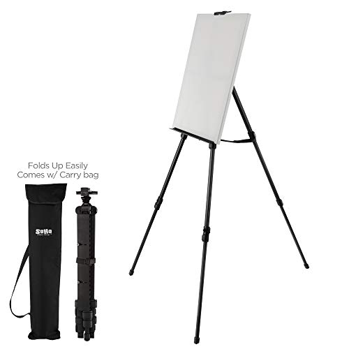 """Soho Urban Artist Aluminum Art Easel & Carry Bag for Plein Air Painting - Lightweight Anodized Aluminum Compact Painting Easel, Indoor Outdoor Use Holds Canvases up to 50"""" High"""