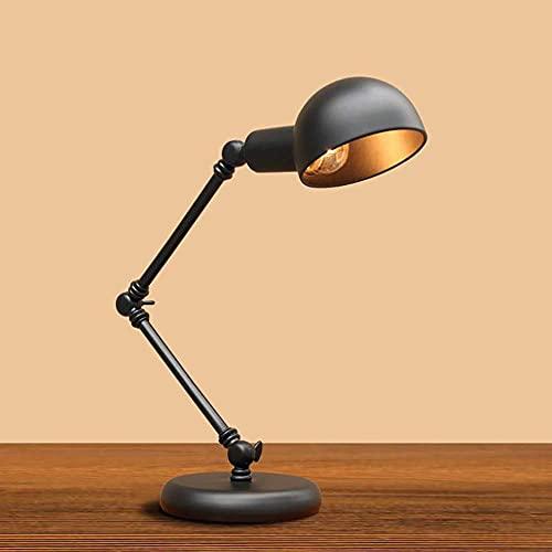 Tiop Lámpara de mesa con lámpara de escritorio ajustable con interruptor de presión, lámpara de lectura clásica, lámpara de noche negra