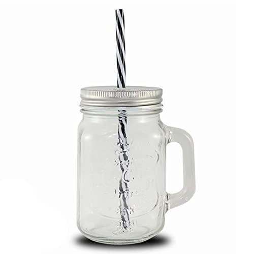 Jarra de cristal con tapa y pajita 50 cl, frasco, bote reutilizable con asa para cocktails, limonadas, bebidas frías, ideal para fiestas, celebraciones con amigos, familia