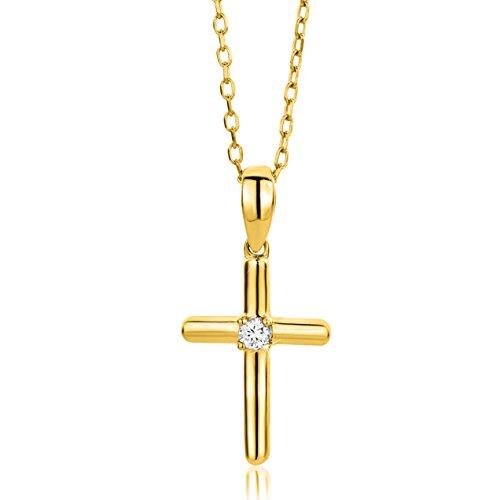 Orovi Collana- Ciondolo Donna croce con Diamante taglio brillante Ct 0.03 in oro Giallo 9 kt 375 catena 45 cm