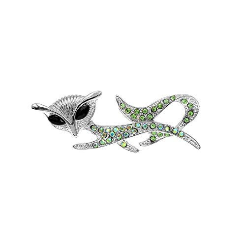 QYTSTORE Rhinestone Cat Brooch Cat Brooch, Size: 4.8 * 4.2 Cm, 3 Colors For Women's Animal Jewelry And Fashion Accessories Elegant and romantic brooch (Color : Green)