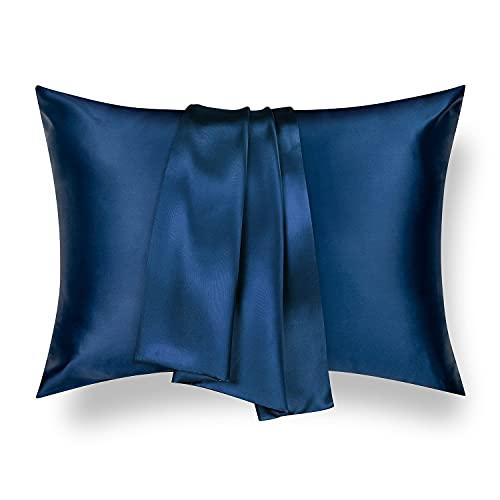 Tafts Silk Pillowcase 22 Momme 100% Pure Mulberry Silk Pillowcase for Hair and Skin, Both Sides Grade 6A Long Fiber Natural Silk Pillow Case, Concealed Zipper, Queen, Navy Blue