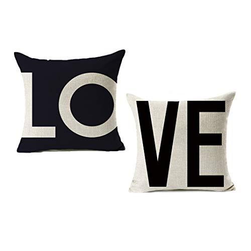VOMI Juego de 2 Funda Almohada Love Cojines Fundas 45 x 45 cm, Funda de Cojine Amor Corazon Funda de Almohada Lino Pareja para Dormitorio Sala de Estar Sofás Sala de Estudio Coche,C