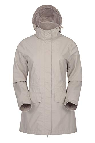 Mountain Warehouse Glacial wasserdichte Damenjacke - warme, atmungsaktive Freizeit-Regenjacke, versiegelte Nähte, abnehmbare Kapuze - ideale Damen-Wanderkleidung, Frühling Beige 34