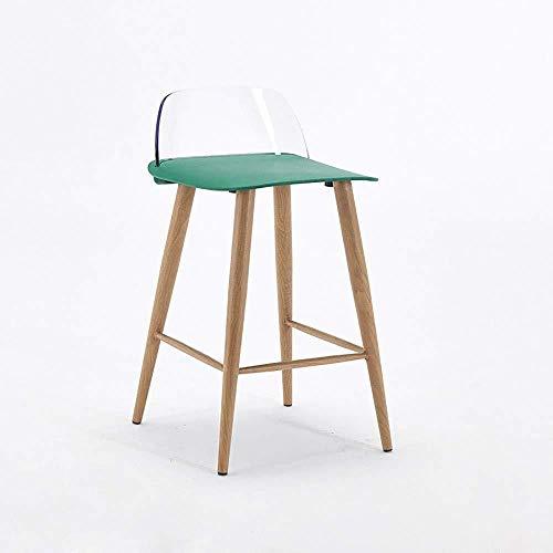 Jiyy barkruk in Noordse minimalistische stijl. Metalen poot houtnerf polypropyleen kunststof zitting doorzichtige rugleuning, cafe-hoge stoel B 65cm