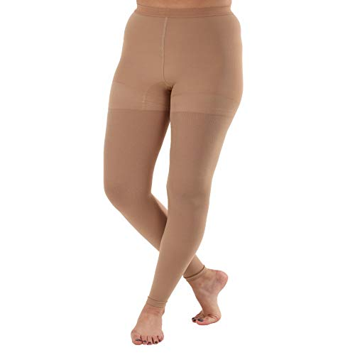 ABSOLUTE SUPPORT - Made in USA - Compression Leggings Women 20-30 mmHg for Circulation - Footless Compression Support Stockings for Women - High Waist Tights Pantyhose - Beige, Size X-Large