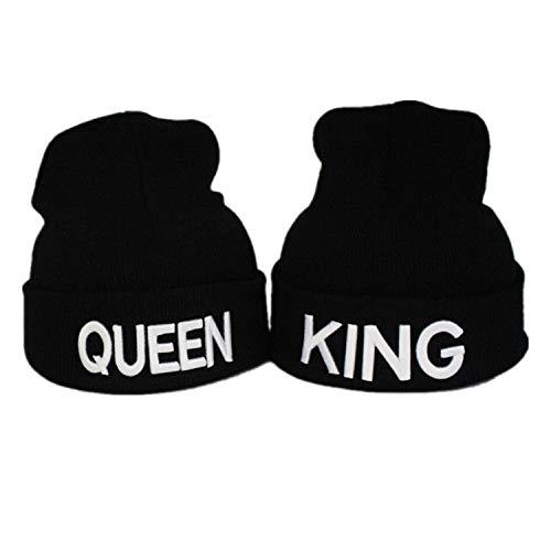 """Gkmamrg - Berretto invernale per lui e lei, ideale come regalo per coppie, scritta """"King"""" e """"Queen"""", colore: bianco e nero"""