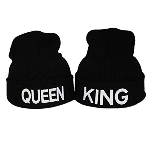 Gkmamrg Weihnachten Partner Pärchen Geschenk King Queen Winter Mütze, Strickmütze für Sie und Ihn, schwarz Weiss (weiß)