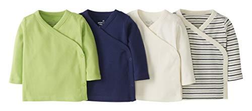 Moon and Back by Hanna Andersson 4er-Pack langärmlige Hemden mit seitlichem Druckknopf T-Shirt-Set, Marineblau, 0 Monate