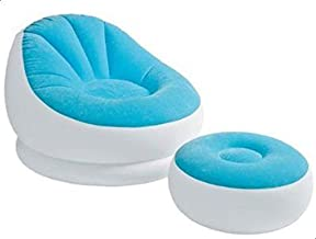 Intex 68572 Inflatable Café Chaise Chair With Foot Rest, Light Blue/White