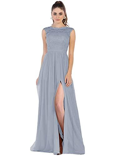 Women Dusty Blue Lace Chiffon Split Bridesmaid Dresses with Pocket Formal Porm Dress