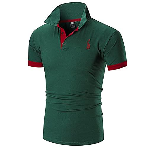 Polo Shirt Hombre Verano Básico Ajustado Elástico Hombre Shirt Moderno Cervatillo Bordado Costura Botón...