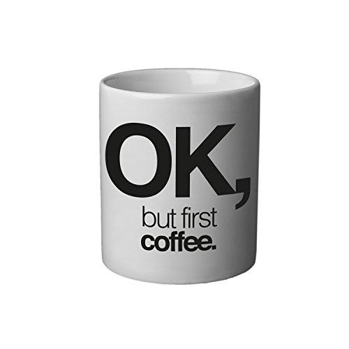 VISUAL STATEMENTS Tasse - Becher mit Spruch; aus Keramik in weiß – eine lustige Kaffeetasse – spülmaschinenfeste Tasse; Becher für Heissgetränke – Coffee Cup