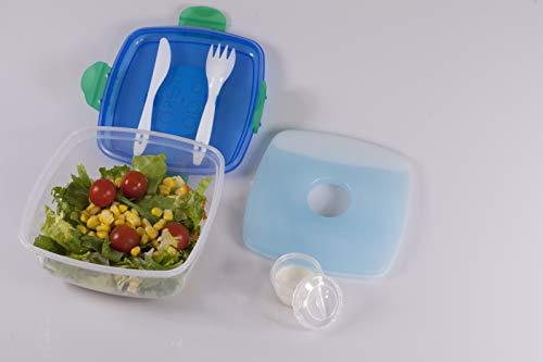 Excellent Houseware Brotdose Lunchbox Blau, Bento Box auslaufsicher mit Besteck & integriertem Kühlakku, inklusive extra Fächern Müsli Saucen, Sandwichbox Salatbox Bentobox Brotbox mit Kühlelement