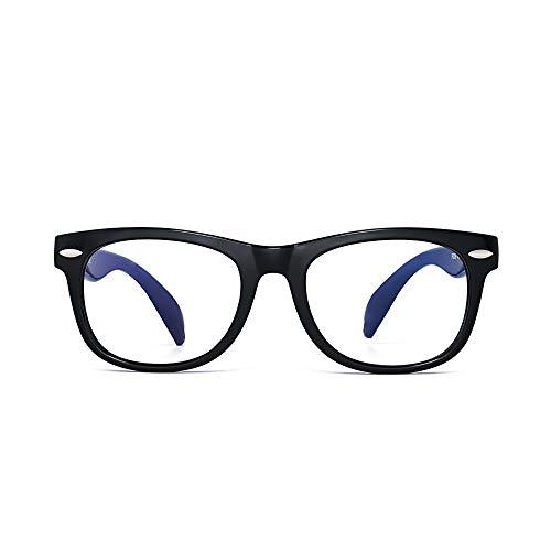 Kinder Blaues Licht blockiert Brillen Kids Anti-Augen-Belastung Gläser für Computer, Telefone, TV, Video Gaming Mädchen Jungen Schwarz