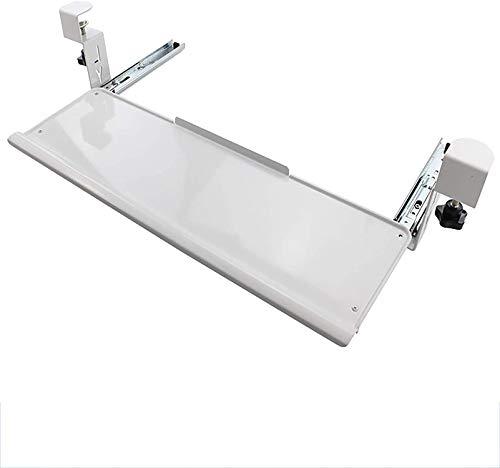 HYE-Table Cajón ergonómico para Teclado y Mouse con Deflector - Bandeja para Teclado Debajo del Escritorio con Deslizadores con cojinetes de Bolas Ideal para Juegos u Oficina, Metal