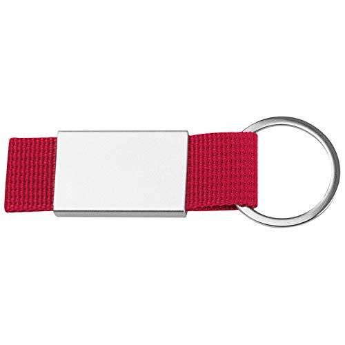 Schlüsselanhänger mit roten Stoffbändchen