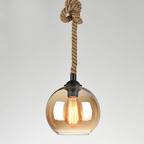 Mobestech Lámpara colgante con cuerda simple en cáñamo 2 M (No incluye bombilla ni cristal)