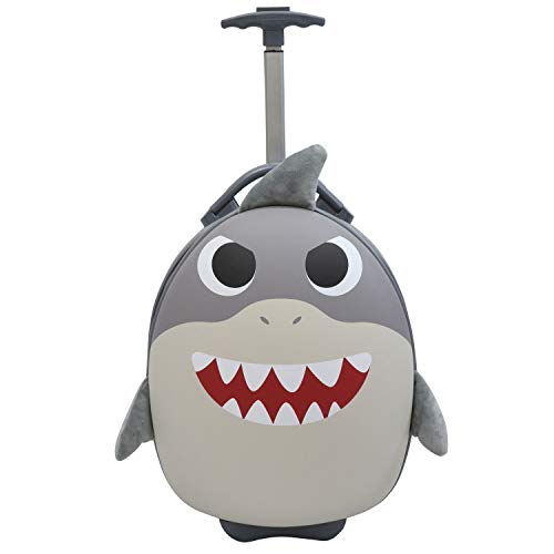 Emmzoe Kids & Toddler 15 Carry On Animal Trolley Hardshell Luggage - Lightweight EVA, Dent Proof, Adjustable Handle for Age 2+ (Shark)
