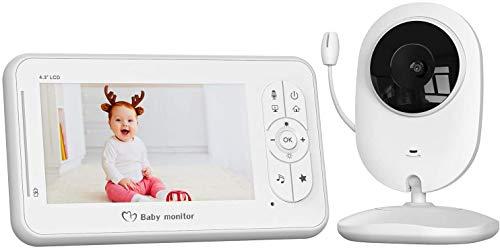 Vigilabebés con Cámara, COOAU Bebé Monitor con Pantalla LCD de 4.3