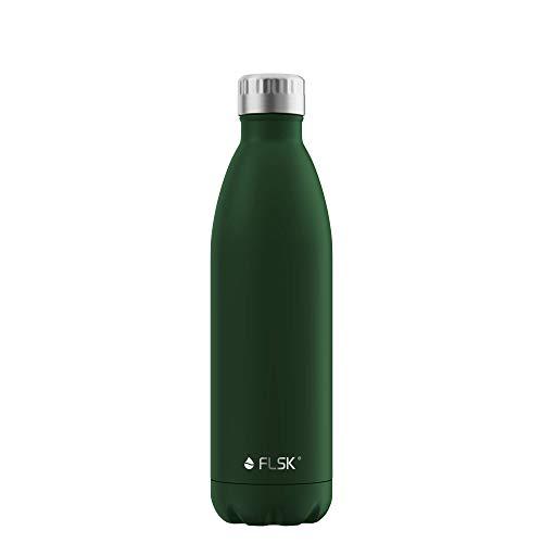 FLSK La bouteille isotherme originale garde au chaud pendant 18 h et au froid pendant 24 h (couleur forêt, taille 750 ml).