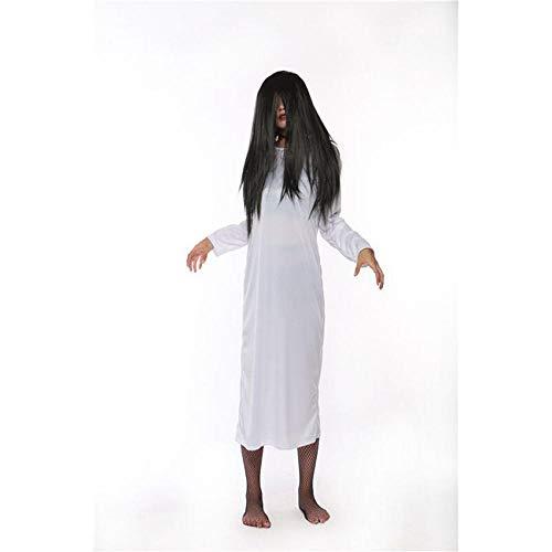 ZHDP Blanco Rojo Sólido Tallas Grandes Vestido de Mujer Sadako Disfraces de Halloween Disfraces de Miedo con Peluca Vestido de Novia Terror Robe para Mujer-White_Dress_and_Wig