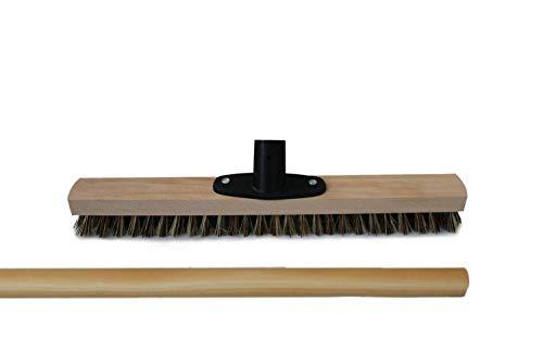 Balai marron/blanc - 40 cm avec porte-poignée et manche en bois