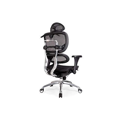 Sebasty Silla ergonómica para ordenador, silla de oficina en casa, reclinable, silla de malla de elevación, silla de jefe de moda Happy Day (color: negro)