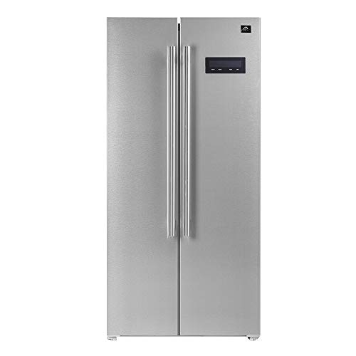 """FORNO Salerno 15.6 Cubic Ft. Freestanding Stainless Steel 33"""" Inch Side-By-Side Built-in Refrigerator"""