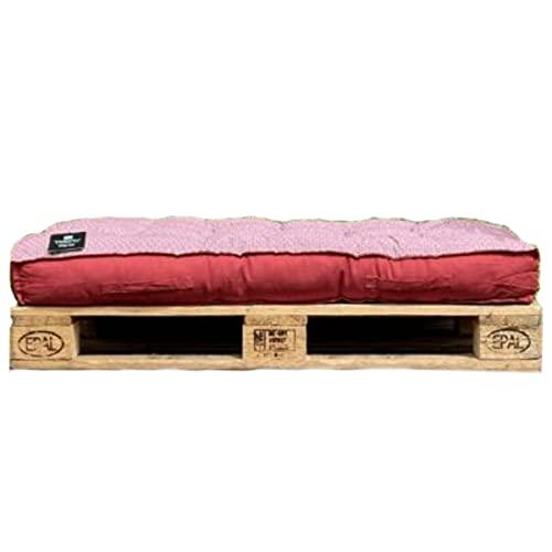 Materassino / cuscino per pallet, arancione/rosso, reversibile, 120 x 80 x 15 cm, 100% cotone, qualità superiore
