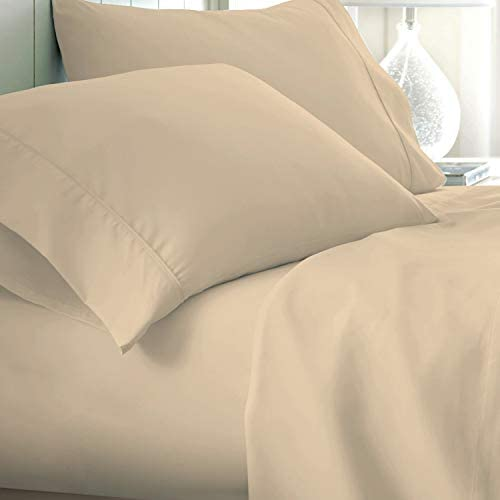 Pure Egyptian Cotton Sheets Queen-Size – 800 Thread Count Sand Bedding, Hotel Luxury 4 Piece Sateen Weave Sheet Set, Breathable Long Staple Cotton, 16 Inch Elasticized Deep Pocket