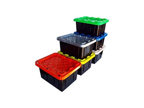 SAFARI USA 5 gallon Stackable Heavy Duty Home Storage Bin/Basket With Lids (6 Pack), 20 Quart, (16'x12'X8.5') for, School Supplies, Toys, Craft, Classroom Organization, Kindergarten, Cubbies, Art.