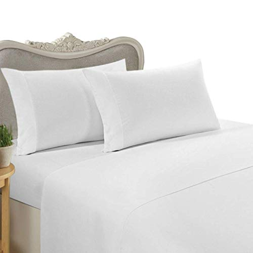 """Hotel Luxury 1500 Thread Count 4-Piece Bed Sheet Set Authentic Heavy Egyptian Cotton Fits Mattress 15"""" to 18'' Inch Deep Pocket, Queen Size, White Color { Style : Solid }"""